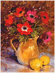 Red anemones and lemons