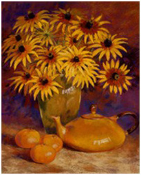 Rudbeckias and a provencal tea pot