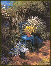 Yellow pansies on a blue chair